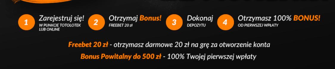 totolotek bonus bez depozytu 20 zł