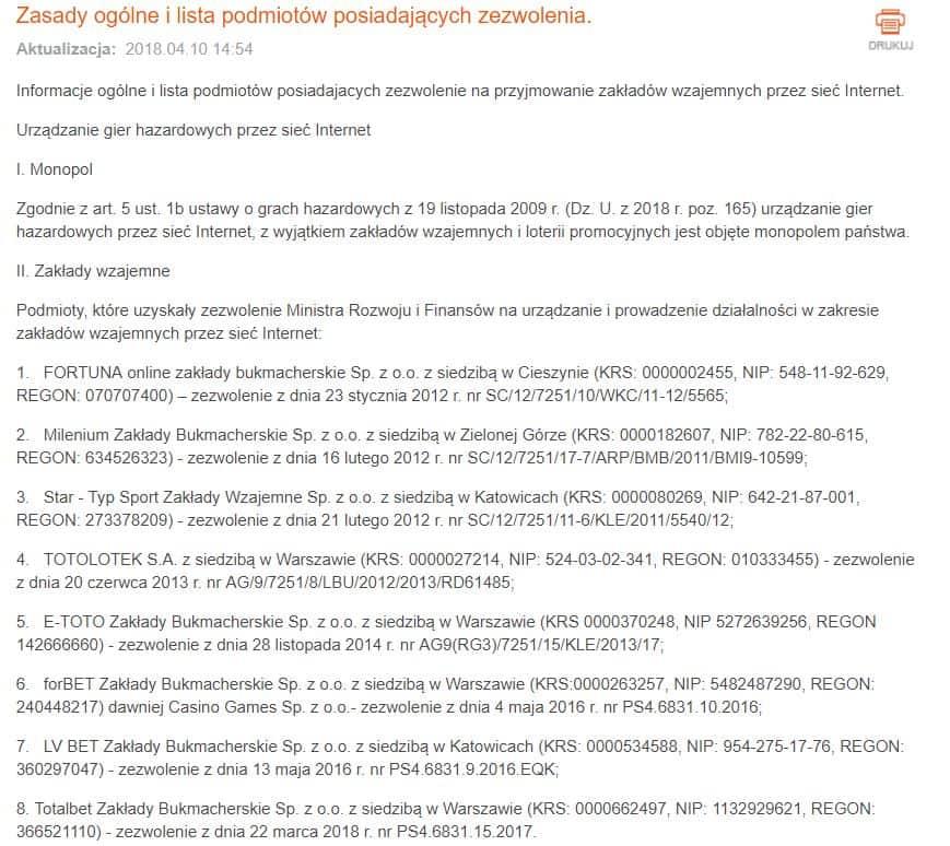 Lista bukmacherów z koncesją (Ministerstwo Finansów)